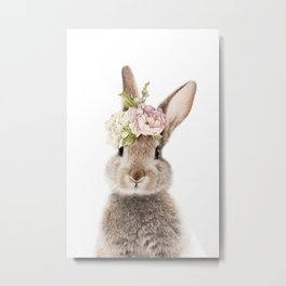 Foral Peek-a-boo Bunny Metal Print