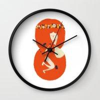 lady gaga Wall Clocks featuring Foxy Lady by Wharton