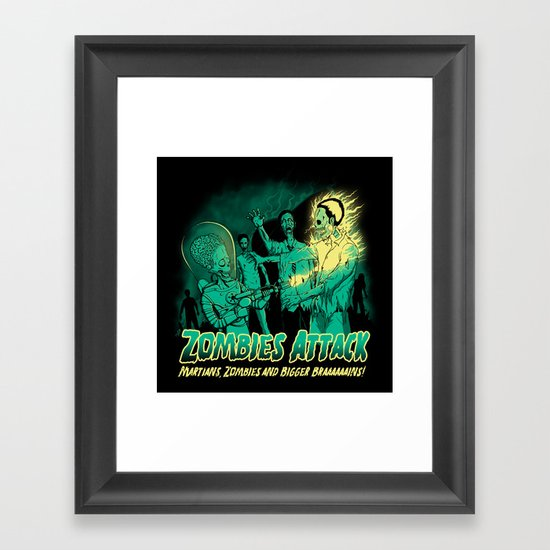 Zombies Attack Framed Art Print