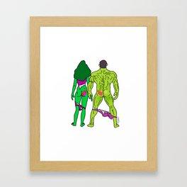 Superhero Butts Love 5 - Green Framed Art Print