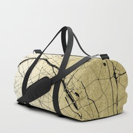 Paris France Minimal Street Map - Gold on Black Duffle Bag