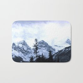 Mystic Three Sisters Mountains - Canadian Rockies Bath Mat