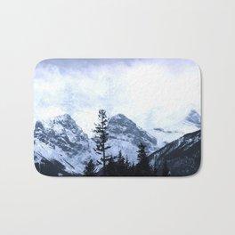 Mystic Three Sisters Mountains - Canadian Rockies Bath Mat