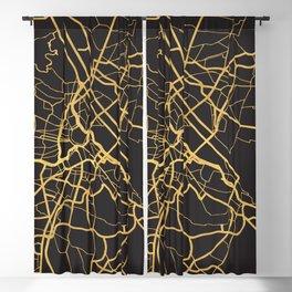 VIENNA AUSTRIA GOLD ON BLACK CITY MAP Blackout Curtain