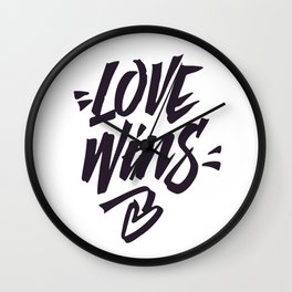 Love Wins Brush Lettering Wall Clock