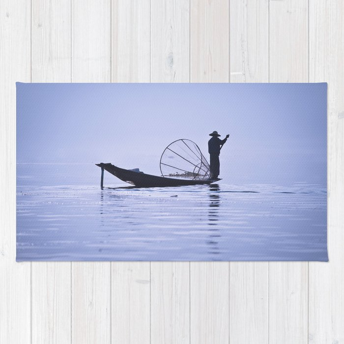 FISHERMAN AT INLE LAKE II Rug