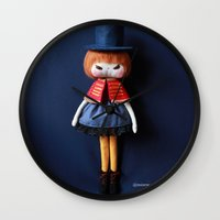 mad hatter Wall Clocks featuring Mad Hatter  by Mintwonderland