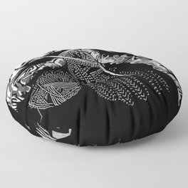 Geometric Black and White Drawing Kitting Hands Floor Pillow