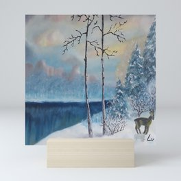 Sunrise at the lake, Beautiful Modern Oil Painting on Canvas, Landscape Mini Art Print
