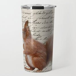 autumn fall seasonal shabby french scripts woodland animal squirrel Travel Mug