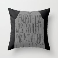 vonnegut Throw Pillows featuring slaughterhouse V - everything was beautiful - vonnegut by miles to go