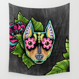 Min Pin Day of the Dead Miniature Doberman Pinscher Sugar Skull Dog Wall Tapestry