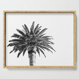 Lush Palm {2 of 2} / Black and White Sky Tree Leaves Art Print Serving Tray