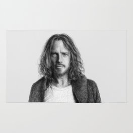 Chris Cornell tribute, black and white Rug
