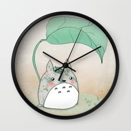 Floral Totoro Wall Clock