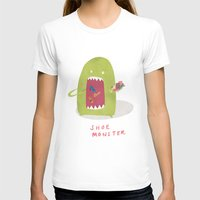 shoe T-shirts featuring Shoe Monster by Firecatcher