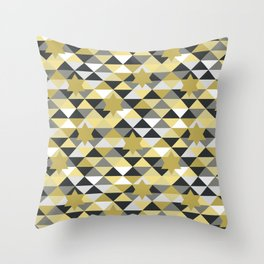 Abstract stars in a golden pattern Throw Pillow