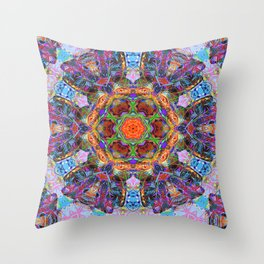 Mandala with colorful collage Throw Pillow