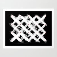 Dotted Grid with Brush Strokes Black Art Print