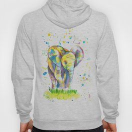 Baby Elephant - Watercolor Painting Print Hoody