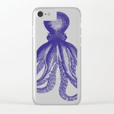 Octopus | Navy Blue and White Clear iPhone Case