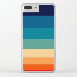 Vintage 70s Color Staggered Striped Color Block Pattern Sunset Sky Clear iPhone Case