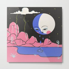 Crying Moon in the Pink Desert Metal Print