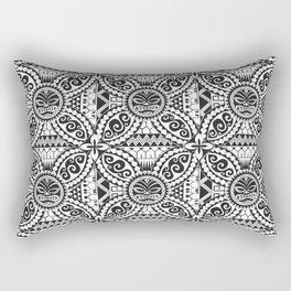 Polynesian Samoan Hawaiian black white tattoo design Rectangular Pillow