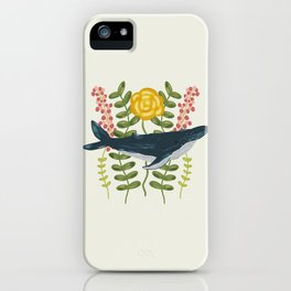 Whale in a Sea of Flowers iPhone Case