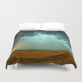 Open the Heavens - Panoramic Storm with Teal Hue in Northern Oklahoma Duvet Cover