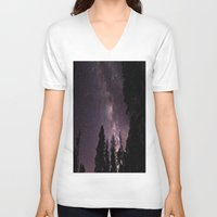 milky way V-neck T-shirts featuring Milky Way by Holly O'Briant