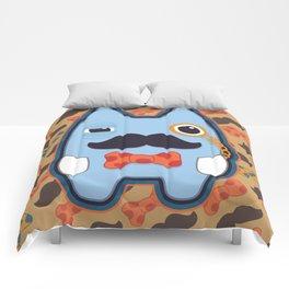 Fancy Blue Moustache Monster Comforters