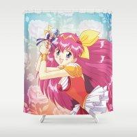 wedding Shower Curtains featuring Wedding Peach by Neo Crystal Tokyo