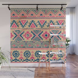 Vintage tribal ethnic hand drawn illustration pastel pink abstract geometric pattern Wall Mural