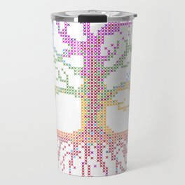 Rainbow Chakra Tree of Life - Real Stitch-able Color Coded Cross Stitch Chart Travel Mug