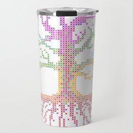 Rainbow Chakra Tree of Life - Real Stitch-able Color Coded Cross Stitch Chart Travel Mug