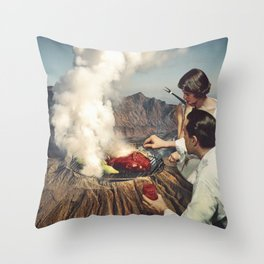 On A Good Day - Volcano BBQ Throw Pillow