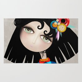 Black Hair Huge Green Eyes Rug