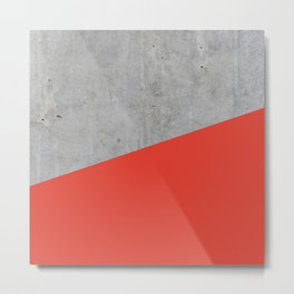 Concrete and Cherry Tomato Color Metal Print