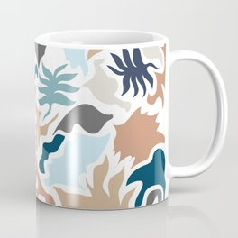 Minimal Shapes Taupe Blues Skintones Fall Leaf Pattern Digital Coffee Mug