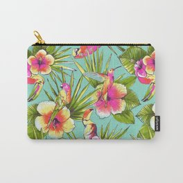 Tropical flowers with parrots Carry-All Pouch