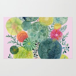Succulent Circles on Pink Rug