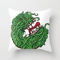 """teeth Throw Pillows featuring """"Teeth"""" by Daniel Gestri"""