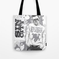 sin city Tote Bags featuring Sin city by Tshirt-Factory