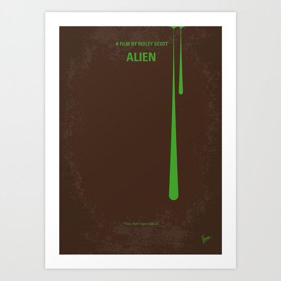 No004 My Alien minimal movie poster Art Print