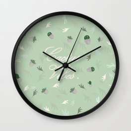 Cactus vibes pattern cactus leaves, tropical desert, green , Christmas gift , society6 Wall Clock