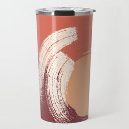 Peach Pumpkin Beige Abstract Illustration in pastel colors-2, Travel Mug