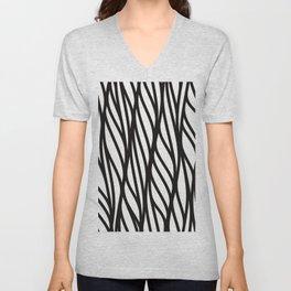 Modern black white abstract geometrical swirls Unisex V-Neck