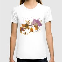 camping T-shirts featuring Critters: Fall Camping by Teagan White