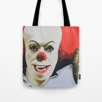 pennywise Tote Bags featuring Pennywise the Clown from It. by MonkeyCatCreations